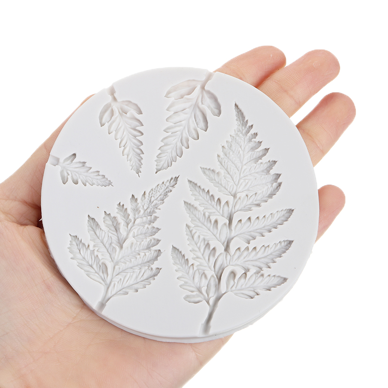Tropical Plant Mimosa Leaves Silicone Mould Fern Leaves Fondant Cake Dessert Mould DIY Birthday Party Chocolate Candy Mold Decor