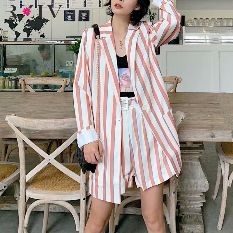 RZIV Autumn women's suit casual striped single button pocket decorative suit + striped shorts suit