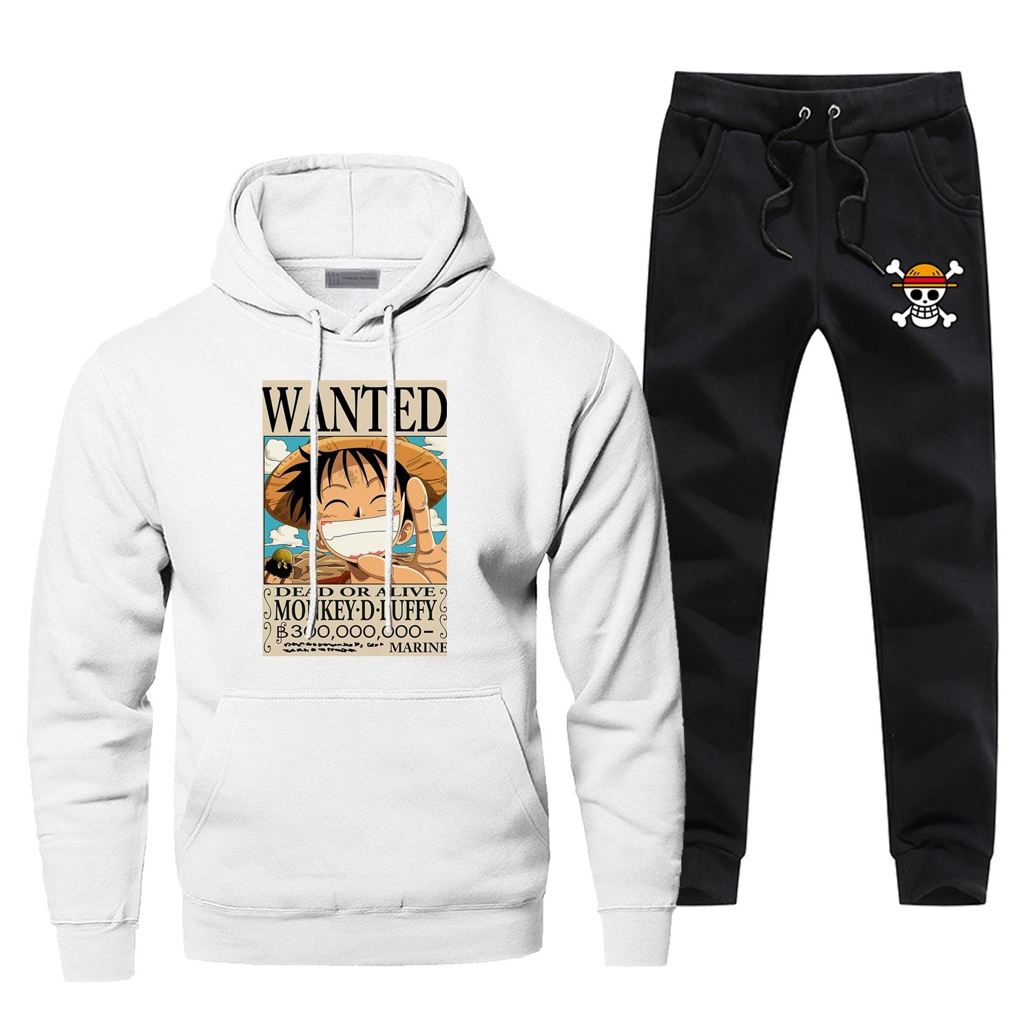 One Piece Hoodies Pants Men Sets Reward The Pirate King Suit Set Pant Sweatshirt Sweatpants Sportswear Autumn  2 PCS Tracksuit