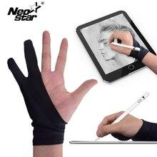 Нео звезда два пальца художника анти-тач перчатки для рисования планшета правой и левой руки перчатки анти-обрастающие для ipad экран доска