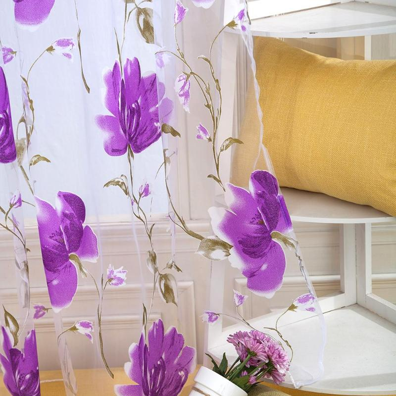 1x2M Hot Home Textile Flower Embroidered Luxury 3D Window Curtains Fabric Tulle Sheer Curtains For Kitchen Bedroom Living Room