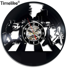 Vinyl Record Wall Clock Vintage LED Kitten Art Silent Creative Simple Modern Design Decor 3D Watche