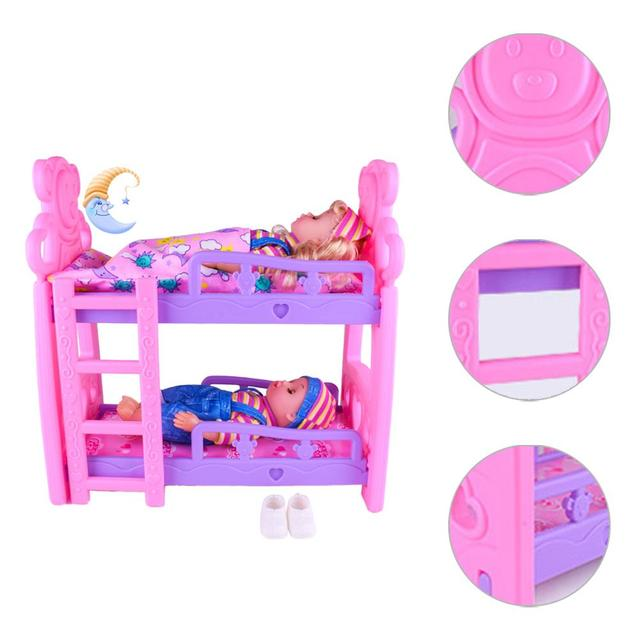 DIY Girls Toys Play House Pretend Play Furniture Toy Baby Doll Accessories Simulation Bunk Bed For Dolls Shaking Trojan Juguetes 4
