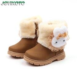 Ciepłe buty dziewczęce kalosze dziecięce grube bawełniane buty dziecięce słodki śliczny królik z koronkową modą księżniczka wodoodporny maluch w Buty od Matka i dzieci na