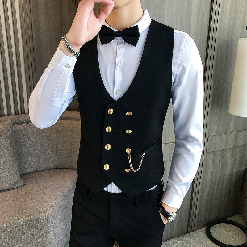 Mens Vest Double-breasted Waistcoat Male Prom Party Disco Waiter Clothes Casual Slim Fit Dress Vest For Men Tuxedo Gilet Homme