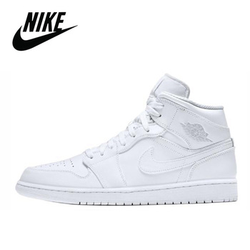 Classic Nike Air Jordan 1 Mid White Original Men's Basketball Sneakers Unisex Women Breathable Nike Air Jordan 1 Mid White
