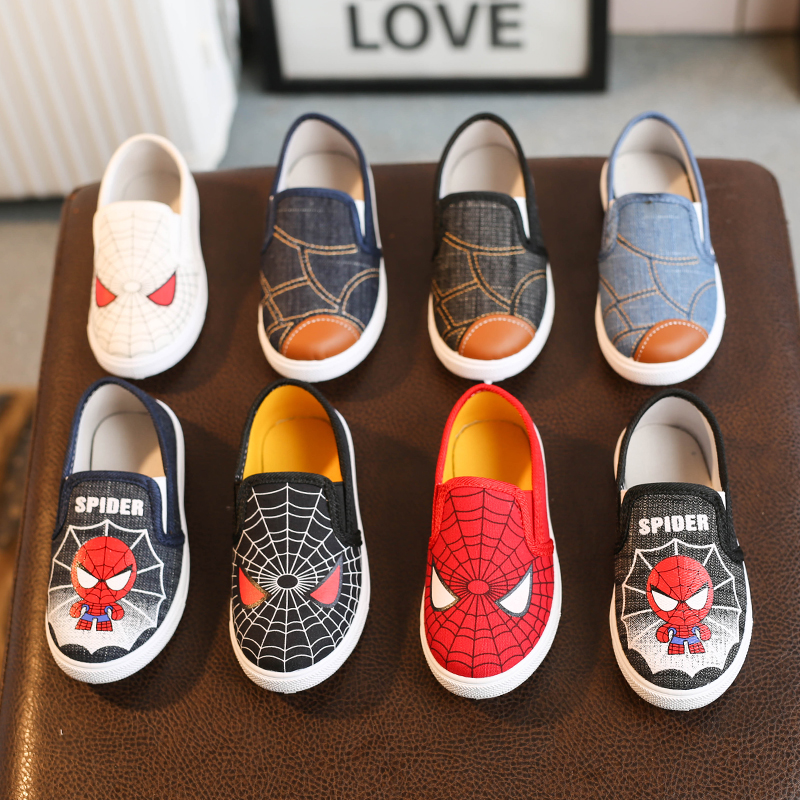 Children Canvas Shoes Spiderman Baby Boy Girl Kid Fashion Soft Cotton Padded Sneaker Running Sport Shoes Loafers Casual Flats