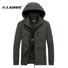 H.S.BONNIE Windbreakers Thin Jacket Men Waterproof Hooded Casual Sport Coat Plus Size 5XL 6XL Men' s Quick Dry Fashion Outerwear