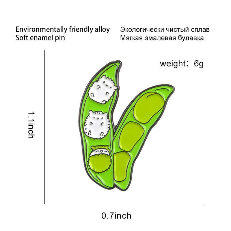 สีเขียว Pea POD Enamel PIN น่ารักขนาดเล็กเข็มกลัดแมว Broad Bean เด็ก Lapel PIN Badge การ์ตูนสัตว์เสื้อผ้ากระเป๋าเครื่องประดับของขวัญเด็ก