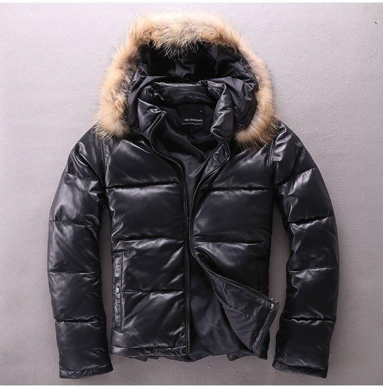 Бесплатная доставка, плюс размер мужская Тонкая куртка из натуральной кожи. Мужской зимний теплый 90% утиный пух пальто. Толстая верхняя одежда из овчины. Енот волос