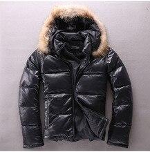 Frete grátis, jaqueta de couro genuíno masculino tamanho grande. homem inverno quente 90% pato para baixo casaco. pele de carneiro grossa outwear. racoon cabelo