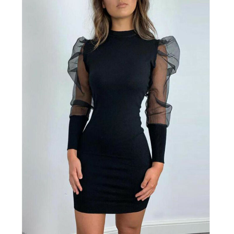 Winter Women`s Slim Solid Color Patchwork Mesh Puff Sleeve Knitted Sweater Sexy Turtleneck Bodycon Mini Jumper Dress