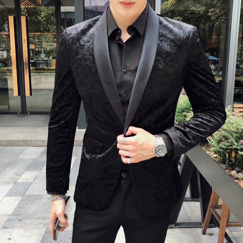 Luxury Velvet Men Blazer New 2019 Brand Business Dress Stage Blazer Formal Wedding Blazers Casual Slim Fit Suit Coat Jacket 5XL