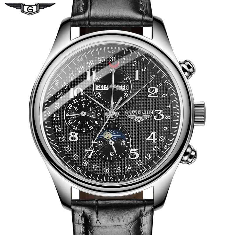 GUANQIN Automatic Mechanical Men Watches Top Brand Luxury Waterproof date Calendar 316L stainless steel Moon Leather Wristwatch