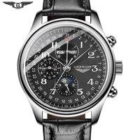 Guanqin 자동 기계식 남성용 시계 브랜드 최고급 방수 날짜 달력 316l 스테인레스 스틸 문 가죽 손목 시계