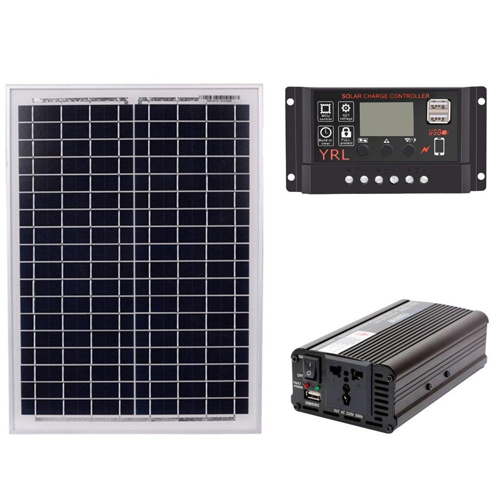 18v20w painel solar + 12 v/24 v controlador + 1500 w inversor ac220v kit, adequado para exterior e casa energia solar-economia ge