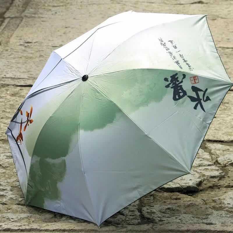 China Wind Mountain Ink Painting Vinyl Umbrella UV-Protection Parasol Folding Parasol Creative Antique Style Umbrella Customizab