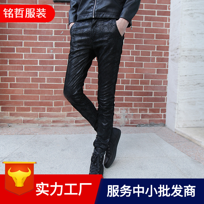 Men Leather Pants Autumn & Winter Slim Fit Casual Skinny Pants Dark Stripes Brushed And Thick Locomotive PU Leather Pants Man's