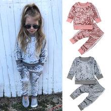 Коллекция года, осенне-зимние Бархатные комплекты одежды для маленьких девочек Однотонная футболка с длинными рукавами Топы+ штаны, комплекты одежды из 2 предметов От 1 до 5 лет, Прямая поставка