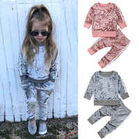 2019 herbst Winter Samt Kinder Baby Mädchen Kleidung Sets Solide Langarm T-shirt Tops + Hosen 2PCS Outfit Sets 1-5T Dropshipping