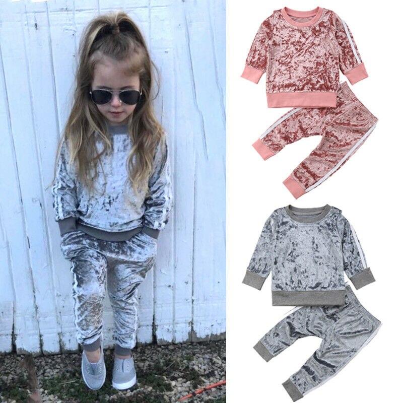 2019 outono inverno de veludo crianças meninas do bebê conjuntos de roupas sólido manga longa camisetas + calças 2 pçs conjuntos de roupa 1-5 t dropshipping