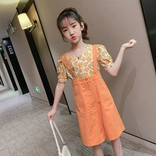 girls clothes summer kids clothing sets teen children fashion costume for girls 6 8 12 years flower t shirt strap dress 2 pcs Girls Clothes Summer Kids Clothing Sets Teen Children Fashion Costume For Girls 6 8 12 Years Flower T-shirt + Strap Dress 2 Pcs