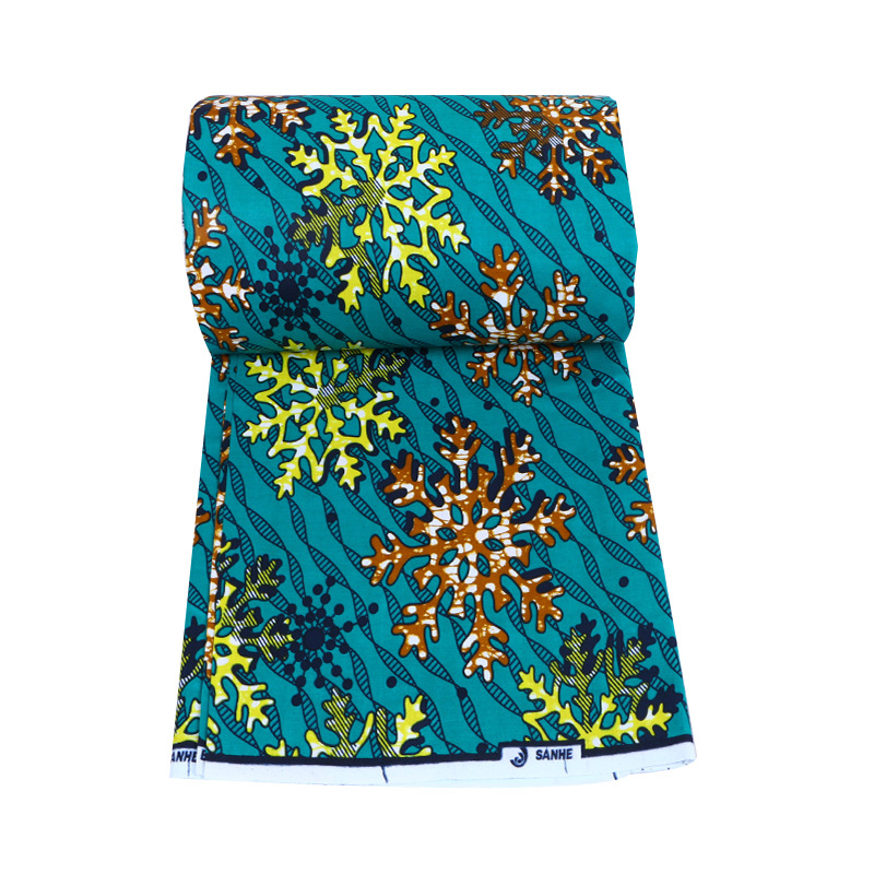 2019 Newest Fashion African 100% Cotton Yellow & Orange Snowflake Print Green Fabric Veritable Ankara Real Dutch Wax