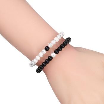 Hot Trendy Men Lava Stone Couples Distance Bracelets Natural Stone White Black Yin Yang Beaded Bangles For Women Friend Pulseira 4