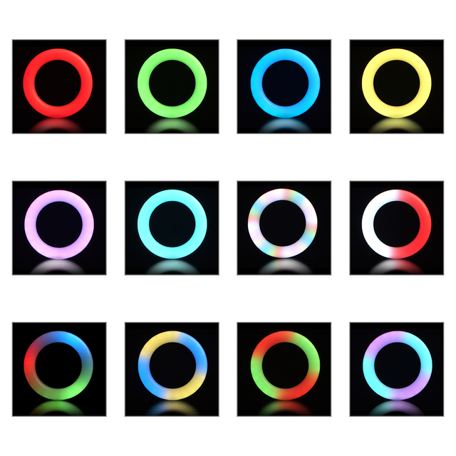 6inch RGB LED Ring Light Selfie Video Ring Lamp With Tripod Stand USB Plug 15 Colors 3 Model For YouTube Live Makeup Photography 3