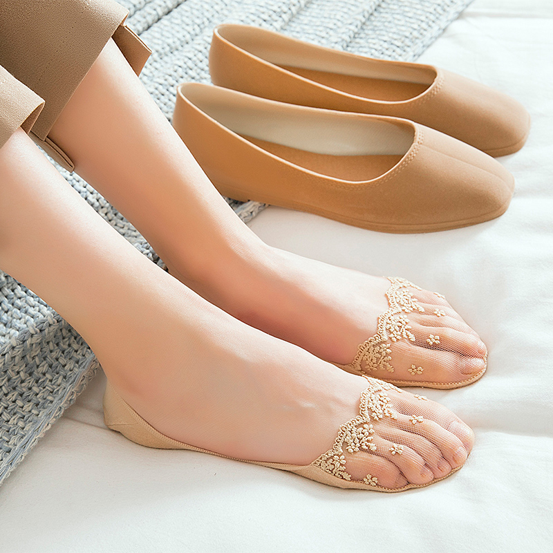 3 Pair Of Women Invisible Toe Sock  With Solid Color Nylon Lace For Summer Slippers 3