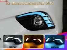 цена на 2 Pcs DRL For Mazda 6 Mazda6 Atenza 2013 2014 2015 LED DRL Daytime Running Lights Daylight Fog light cover