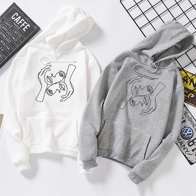 Autumn Winter Women Hoodies White Graphic Sweatshirt Best Friend Pullovers Ulzzang Harajuku Casual Tops Moletom Mujer streetwear