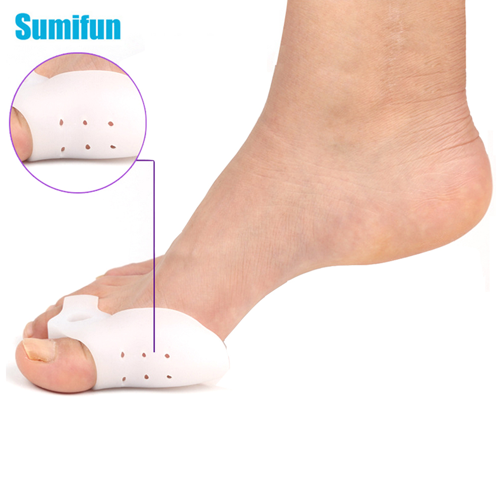 2Pcs Big Toe Corrector Straightener Breathable Thumb Valgus Protector Silicone Gel Foot Fingers Separator Feet Massager