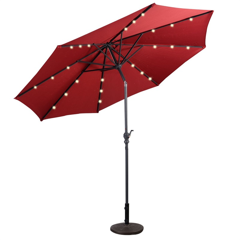 High Quality 10 Ft Patio Solar Umbrella With Crank Solar-powered LED Lights 8 Firm UV Protective Outdoor Patio Beach Umbrella