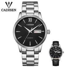 CADISEN גברים של שעון צבאי מכאני שעון פנאי ספורט עסקי שעון עמיד למים לוח שנה בשבוע חגורת פלדת חגורת סט