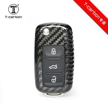 100% real carbon fiber car key case for VW Golf Bora Jetta POLO GOLF Passat Skoda octevia A5 Fabia seat Leon car auto products
