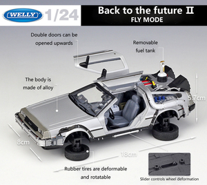 Image 3 - Welly 1:24 Diecast Alloy Model Car DMC 12 delorean back to the future Time Machine Metal Toy Car For Kid Toy Gift Collection