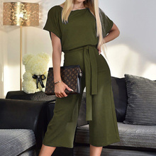 New summer jumpsuits women lace up button rompers jump suit short sleeve overol