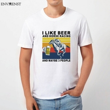T-Shirt MEN Horse-Racing Vintage Harajuku-Tops Beer Funny Off White And ENVMENST 3-People