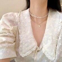 MENGJIQIAO Korean Elegant Freshwater Pearl Heart Choker Jewelry For Women Girls Party Wedding Chain Necklace Bijoux Colares