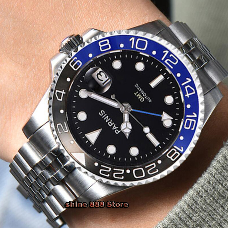 <font><b>40mm</b></font> <font><b>PARNIS</b></font> Sapphire Crystal GMT Automatic machinery movement luminous men's <font><b>watches</b></font> Blue & black ceramic bezel Mechanical <font><b>watch</b></font> image