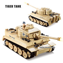 лучшая цена KAZI 82011 Military Armored War Chariot German Armored Force Tiger Tank Soldiers Figures Educational Building Blocks Toys Kids