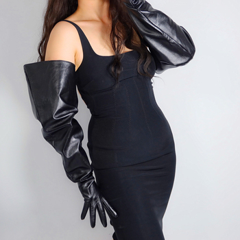 REAL LEATHER GLOVES Unisex Black 70cm LONG Wide Balloon Puff Sleeves Large TECH Women Long Leather Gloves WZP36