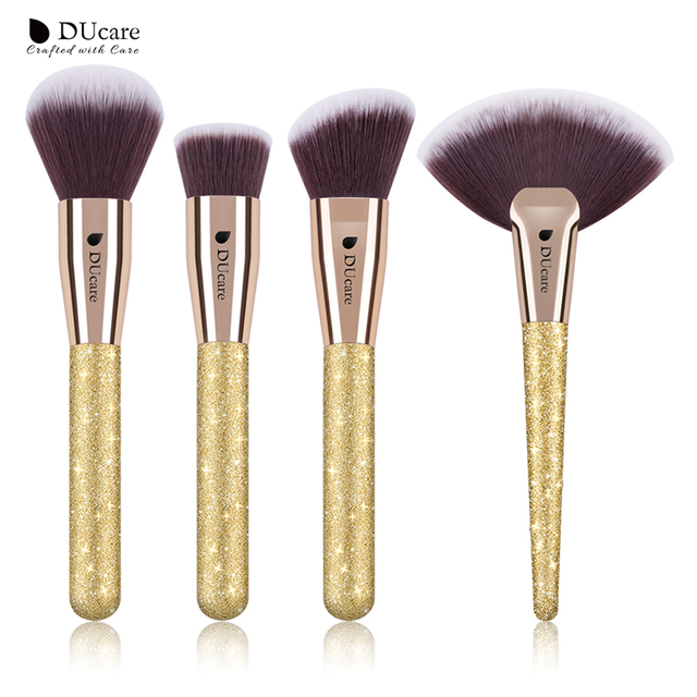 DUcare แปรงแต่งหน้า 4 PCS แปรงแต่งหน้า Foundation Powder Contour Highlighter แปรง Make Up ชุดเครื่องมือ