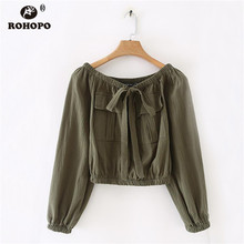 ROHOPO Off Shoulder Tie Collar Army Green Pullover Crop Blouse Pleated Solid Ladies Autumn Short Top Shirt #8944