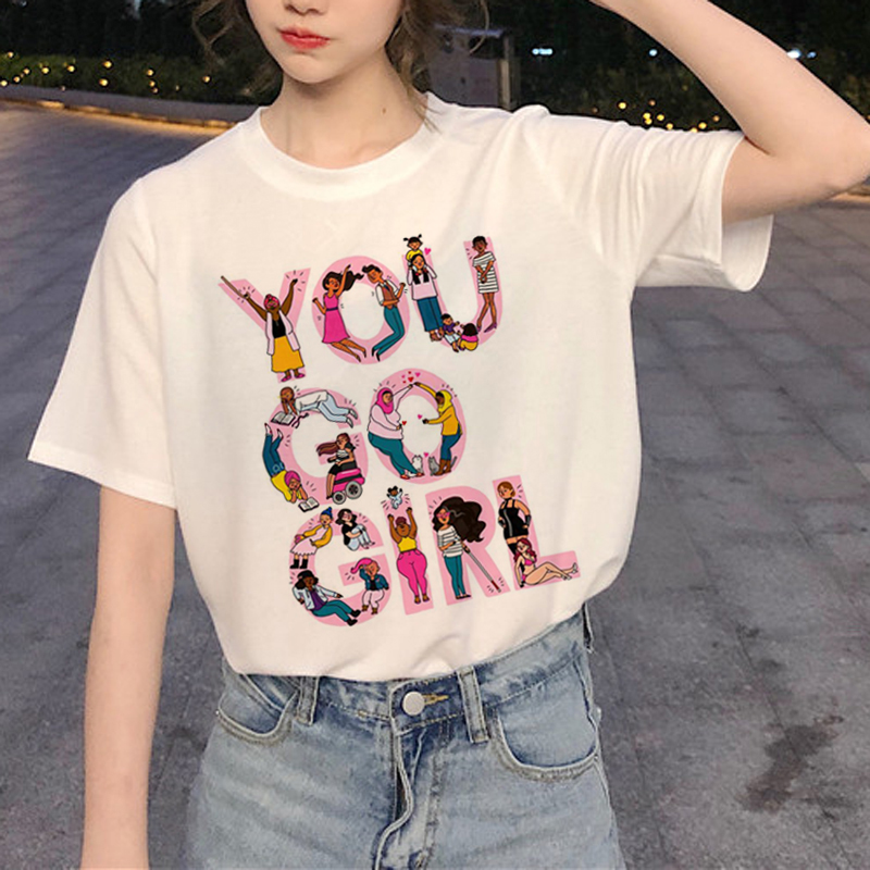 Ladies Summer Casual Short Sleeves Feminist  Harajuku   90s Graphic Tshirt Korean Style