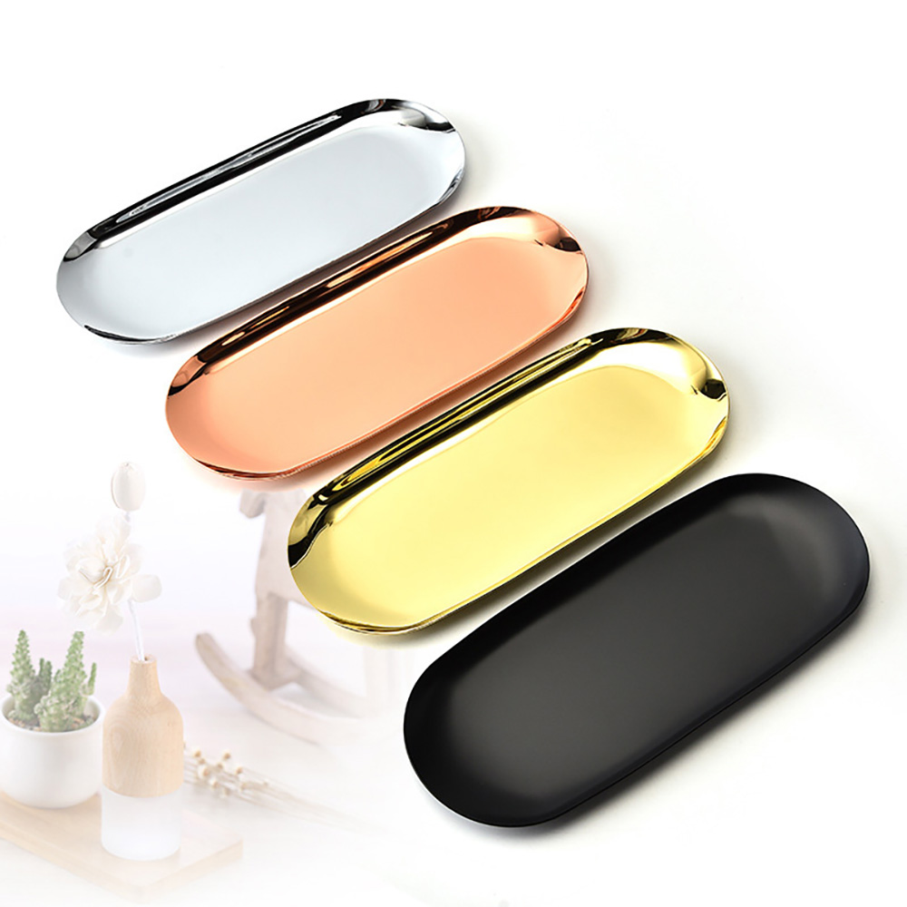 New Colorful Metal Storage Tray Gold Oval Dotted Fruit Plate Small Items Jewelry Display Tray Mirror Storage Tray Home Storage
