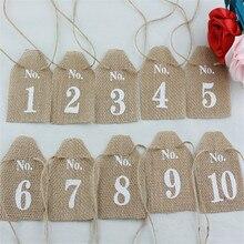 Yute rústico 1-20 números de mesa Mesa arpillera mesa de boda centros de mesa Vintage decoración de la boda del país decoración Chic fiesta
