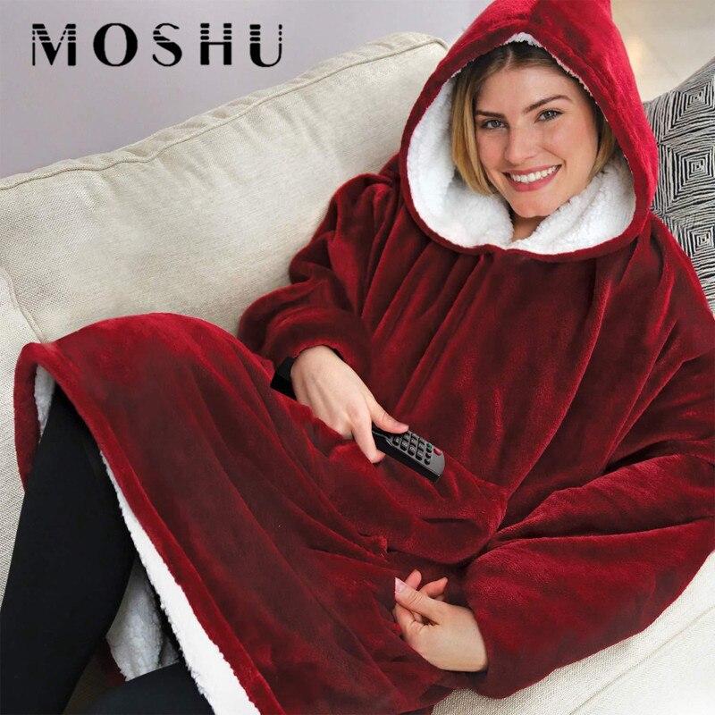 Women Winter Huge Warm Hooded Coat Pocket Solid Hoodies Outdoor Indoor Soft Comfy Sweatshirt Fleece Cotton Blanket For Men Women
