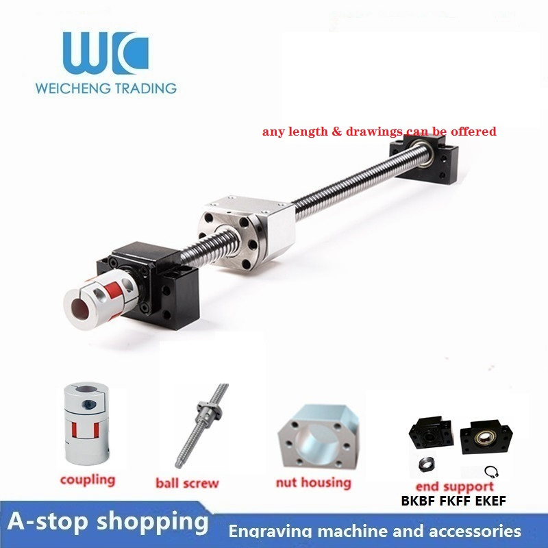 1 anti backlash 20mm ballscrew RM2005-1800mm-C7+BK//BF15 end bearing support CNC